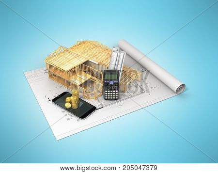 The Concept Of Construction Calculations. The Frame Of The House. Money 3D Render On Blue Background