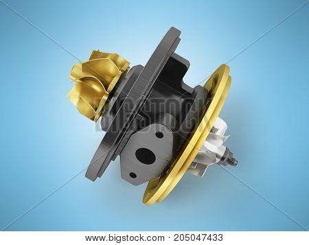Concept Cartridge To Turbine On Auto Gold 3D Render On Blue Background
