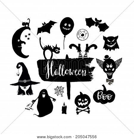 Set of  hand drawn Halloween symbols on white background. Design element for holiday decor.