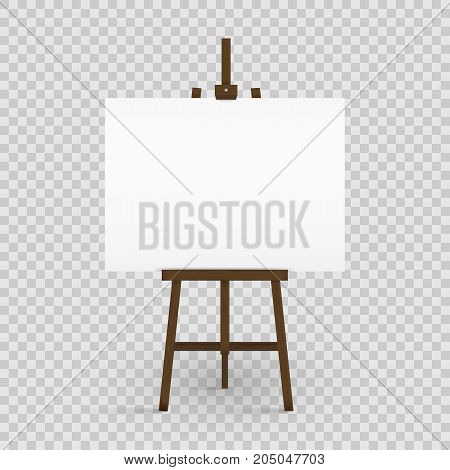 Blank canvas on a artist' easel. Blank art board and wooden easel isolated on transparent background. Vector illustration. Eps 10.