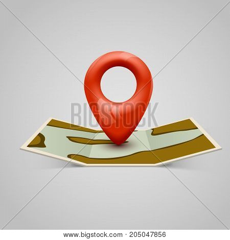 Paper map icon with Pin Pointer. Vector illustration