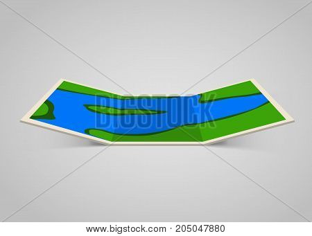 Modern and bright paper map. Vector illustration