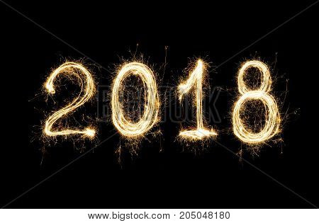 Isolated 2018 Written With Sparkle Firework On Black Background , 2018 Happy New Year Background Con