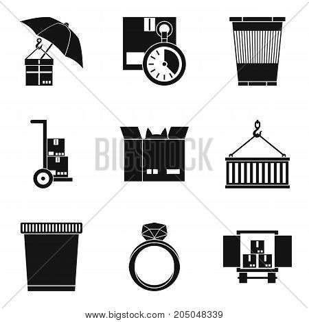Large box icons set. Simple set of 9 large box vector icons for web isolated on white background