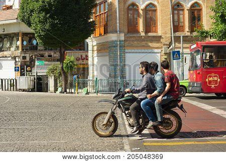 Motorcyclists On Tehran Street.  Iran