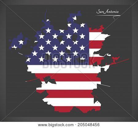 San Antonio Map With American National Flag Illustration