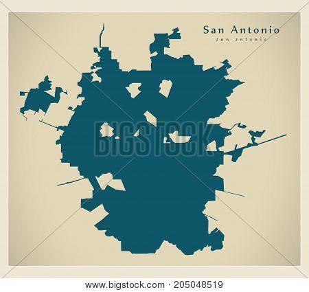 Modern Map - San Antonio City Of The Usa