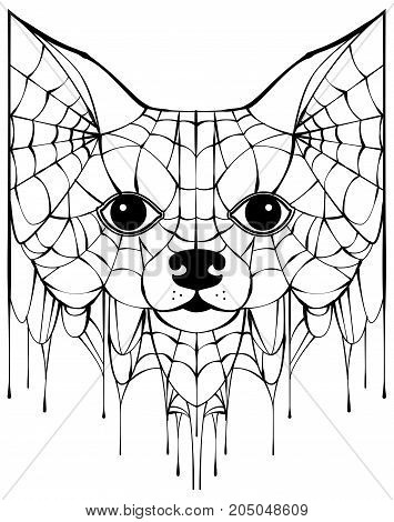 Black spiderweb silhouette head dog. Halloween accessory. Isolated on white vector illustration