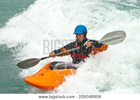 August kayak trip on the waterfalls of Norway