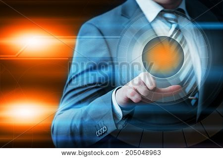 Businessman pressing button. Innovation technology internet business concept. Space for text.