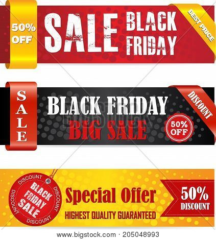 Black Friday sale banner set. Can be used for Web banners posters newsletter designs ads coupons social media banners.