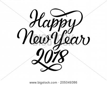 Happy New Year 2018 lettering with swirl. New Year greeting card. Handwritten text, calligraphy. Can be used for greeting cards, posters, leaflets and brochure