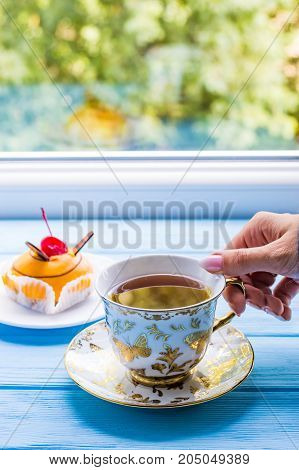 Still Life With Cup Of Tea On The Wooden Background