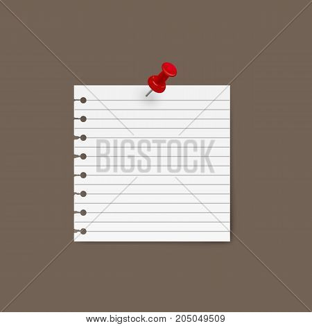 Yellow sticky note with pin isolated on background. Vector illustration. Eps 10.