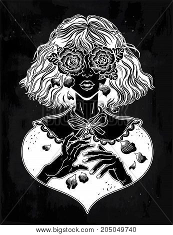 Beautiful young girl with weeping eyes as roses, crying tears as rose petals. Gothic, sadness, Halloween concept art. Tattoo design. Isolated vector illustration vinatge style. Romantic surreal art.