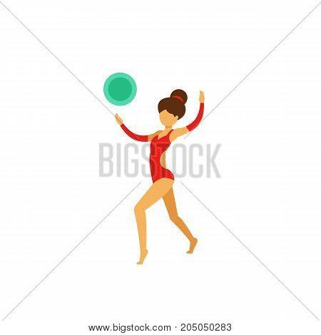 Icon of artistic gymnastics. Woman, dancing, ball. Gymnastics concept. Can be used for topics like discipline, athlete, competition