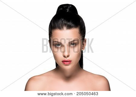Woman With Ponytail And Red Lips