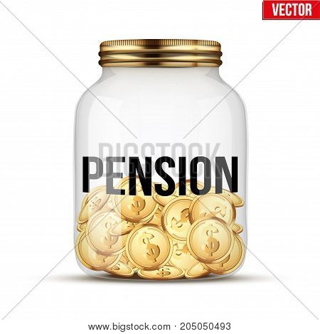 Saving money coin in jar with Pension label. Symbol of keeping money. Vector Illustration isolated on white background.