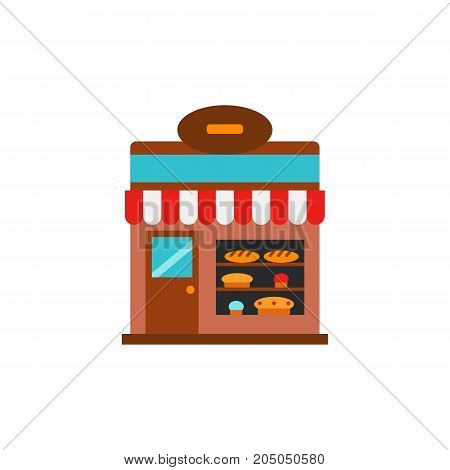 Icon of bakery shop. Bread, bun, shop window, building. Bakery concept. Can be used for topics like food establishment, cafe, small business