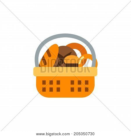 Icon of bread basket. Variation, bun, white and brown bread. Bakery concept. Can be used for topics like food, flour products, cafe