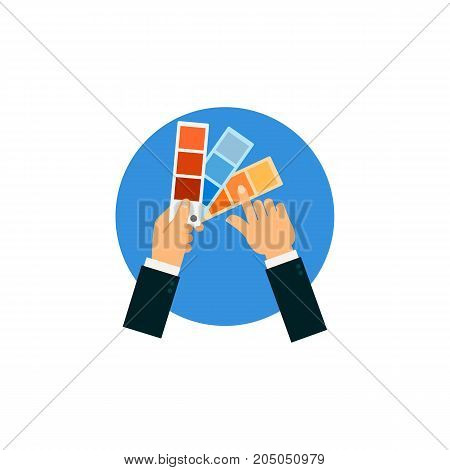 Icon of colour selection. Color swatch, choosing, hands. Performing apartments concept. Can be used for topics like design, interior, color combination