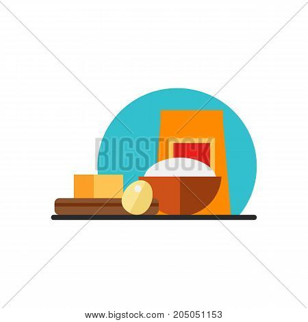 Icon of cooking ingredients. Flour, butter, egg. Bakery concept. Can be used for topics like preparing food, recipe, cooking at home