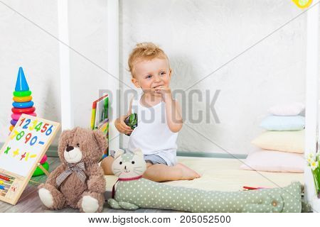 Little Boy Playing Indoor