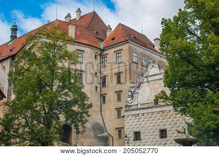 The famous castle of castle of Cesky Krumlov in South Bohemia, Czech Republic