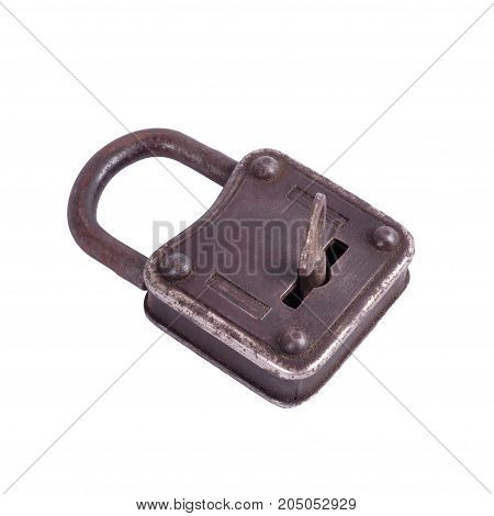 Old metal lock with key isolated on white background