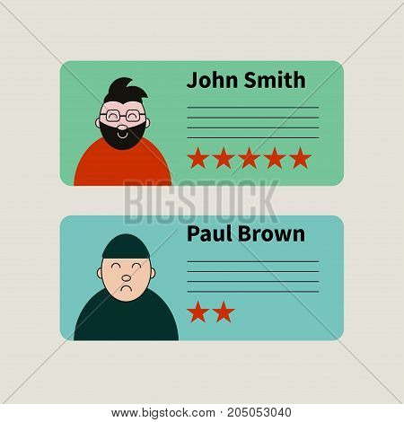 Opinion, rating, customer feedback. Five stars. Vector illustration