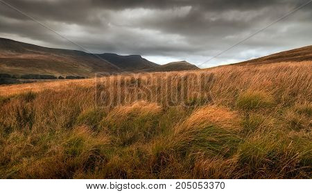 Storm clouds over Pen y Fan and Corn Du, the highest peaks
