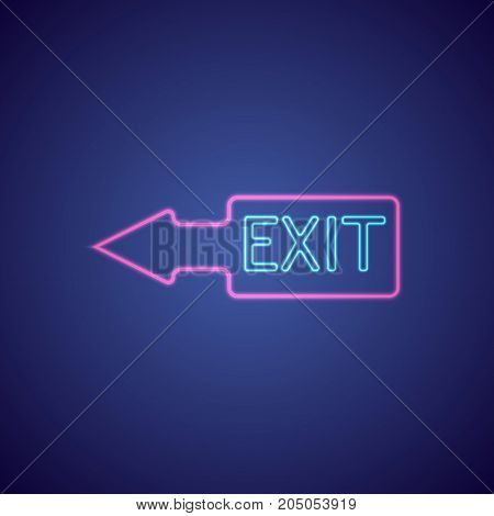Exit With Neon Light . Exit On Night Club - Bar Neon Sign. Vector Illustration.