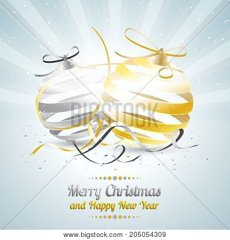 Merry Christmas And Happy New Year Vector Illustration With Gold And Silver Baubles, Bow, Ribbon And