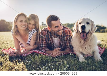 Happy Family With Dog