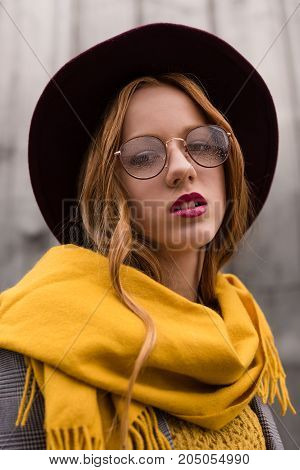 Stylish Redhead Girl In Eyeglasses