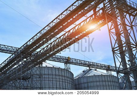 Fragment of metal grain elevator in facility with silos. Agricultural silos. Agriculture.