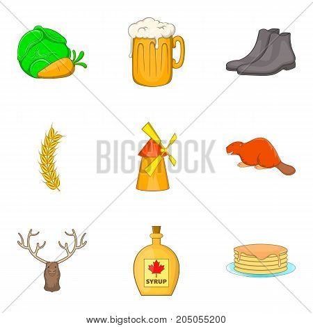 Canadian autumn icons set. Cartoon set of 9 canadian autumn vector icons for web isolated on white background