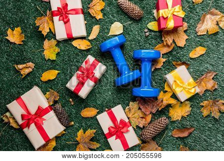 Blue Dumbbells And Autumn Leaves With Gifts