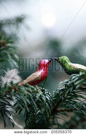 two christmas birds sitting on a christmas tree beak to beak
