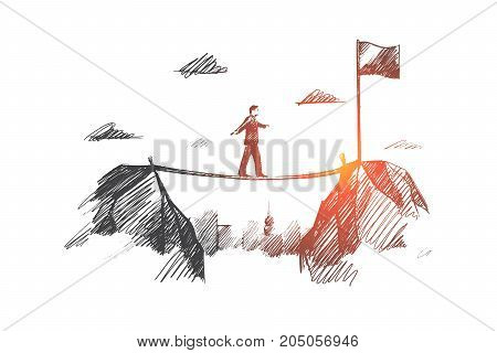 Business concept. Hand drawn businessman coming to his goal. man moves towards the goal isolated vector illustration.