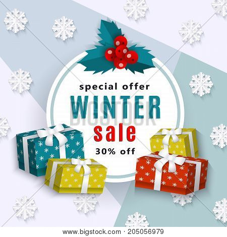 vector winter sale poster template. Winter holiday symbols - spruce branch present boxes, snowflakes. Decorated flyer Illustration on blue background. Banner advertising design