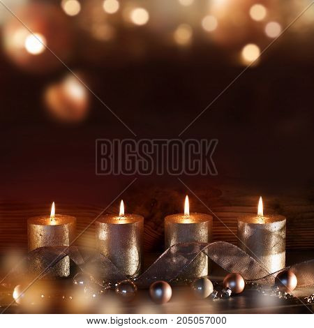 Advent decoration with four candles at christmas time