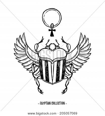 Hand Drawn Vector Illustration - Egyptian Collection. Scarab Beetle With Wings And Ankh, Symbol Of P