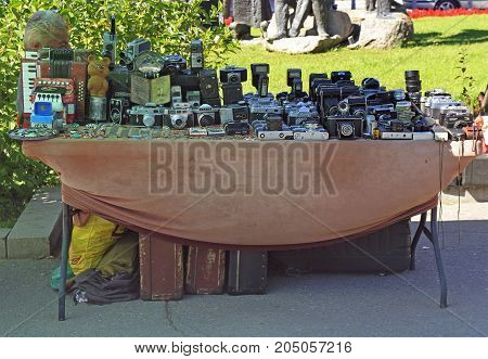 Man Is Selling Old Photocameras Outdoor In Sofia, Bulgaria