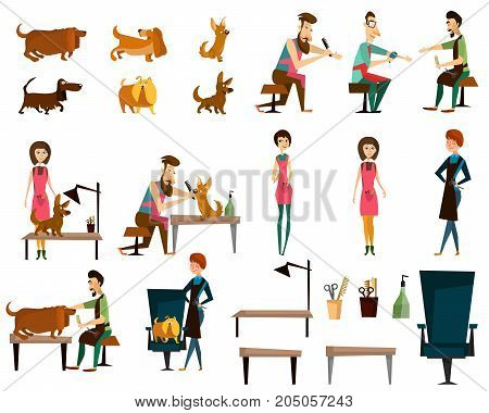 Vector illustration of puffy barber pet grooming salon characters, furniture, dog grooming supplies and equipment isolated on white background. Flat style design.