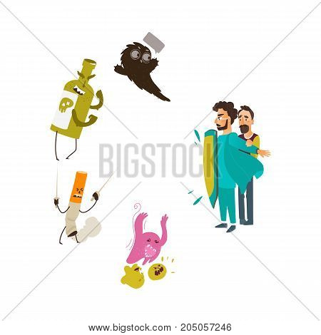 vector flat male doctor protecting male patient by own chest - shield from mental illness - germs, microbs fear or phobia, alcoholism, nicotine addiction. Isolated illustration on a white background