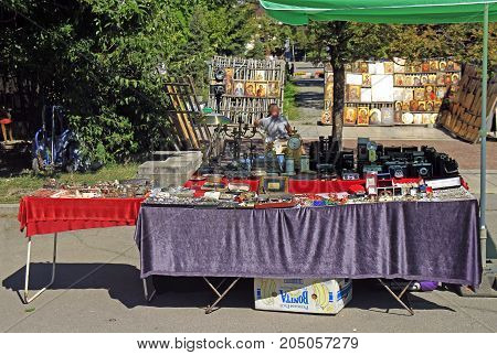 Flea Market On Square At The Cathedral In Sofia