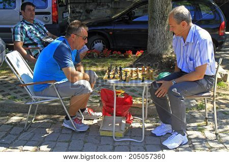 Men Are Playing Chess Outdoor In Sofia, Bulgaria