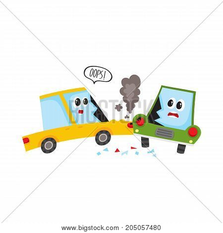 vector flat cartoon car accident. Yellow vehicle crashed into green one saying oops and got black smoke from hood and cracked side window glass. Isolated illustration on a white background.