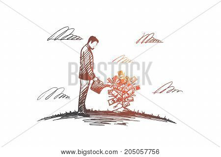 Money tree. Hand drawn growing money tree. A man watering money tree isolated vector illustration.